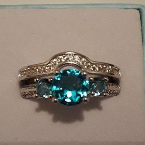 Blue topaz gemstone wedding ring set size 9